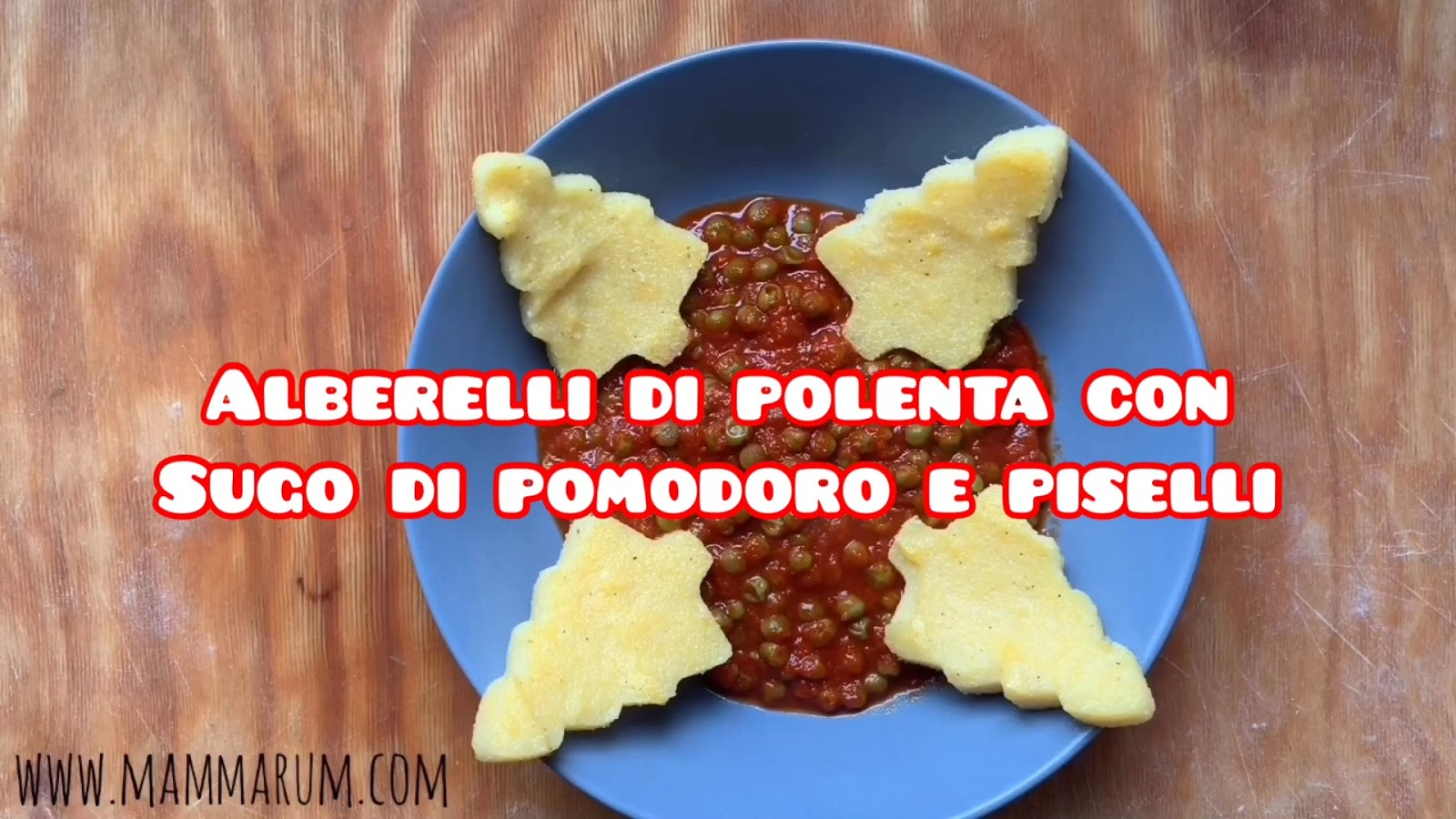 Giorno 16: Alberelli di polenta e sugo di piselli e pomodoro