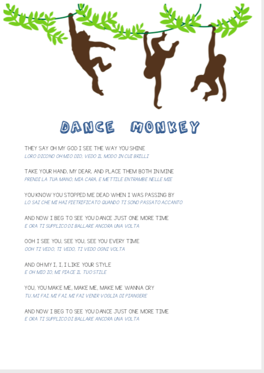 Dance Monkey Tones And I Testo E Traduzione Per Bambini Mammarum