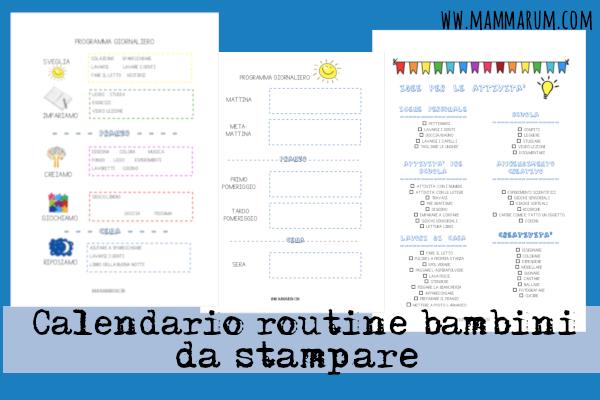 Calendario routine bambini da stampare