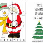 Puzzle numerico di Natale da stampare