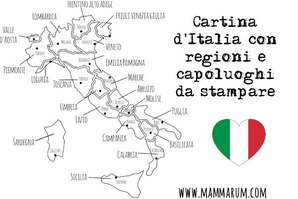 Cartina Valle D Aosta Da Colorare.Cartina D Italia Con Regioni E Capoluoghi Da Stampare Mammarum