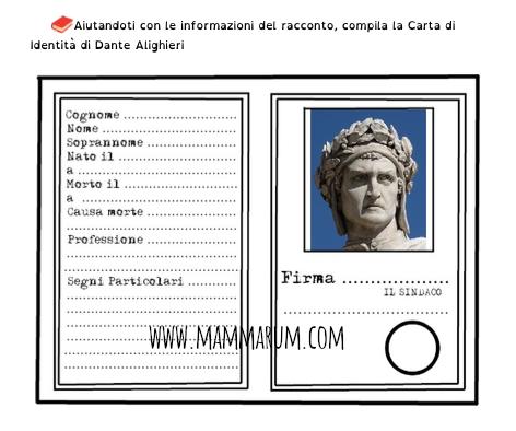 Dante Alighieri schede didattiche semplificate