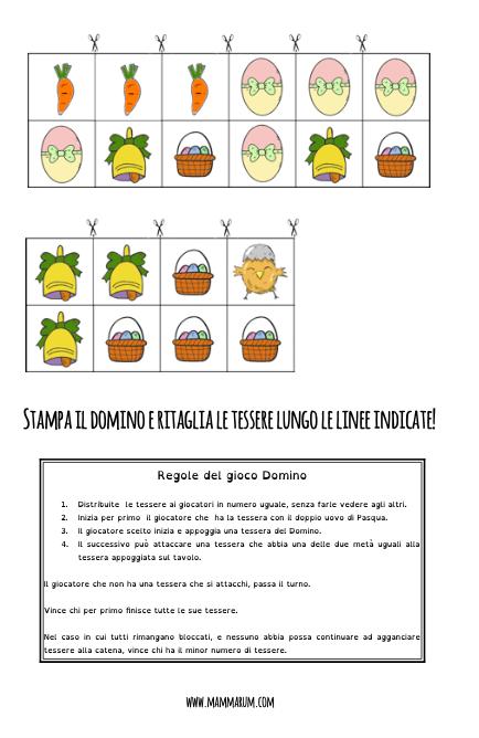 Domino di Pasqua per bambini da stampare