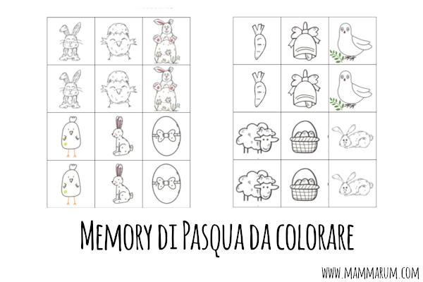 Memory di Pasqua da colorare