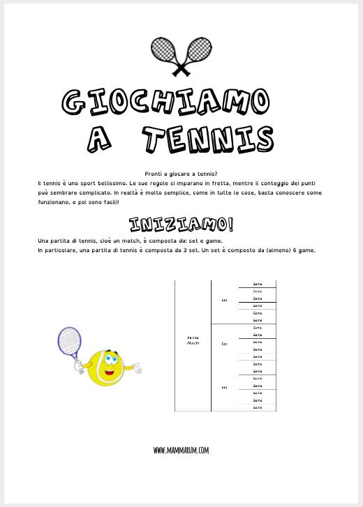 Il tennis spiegato ai bambini