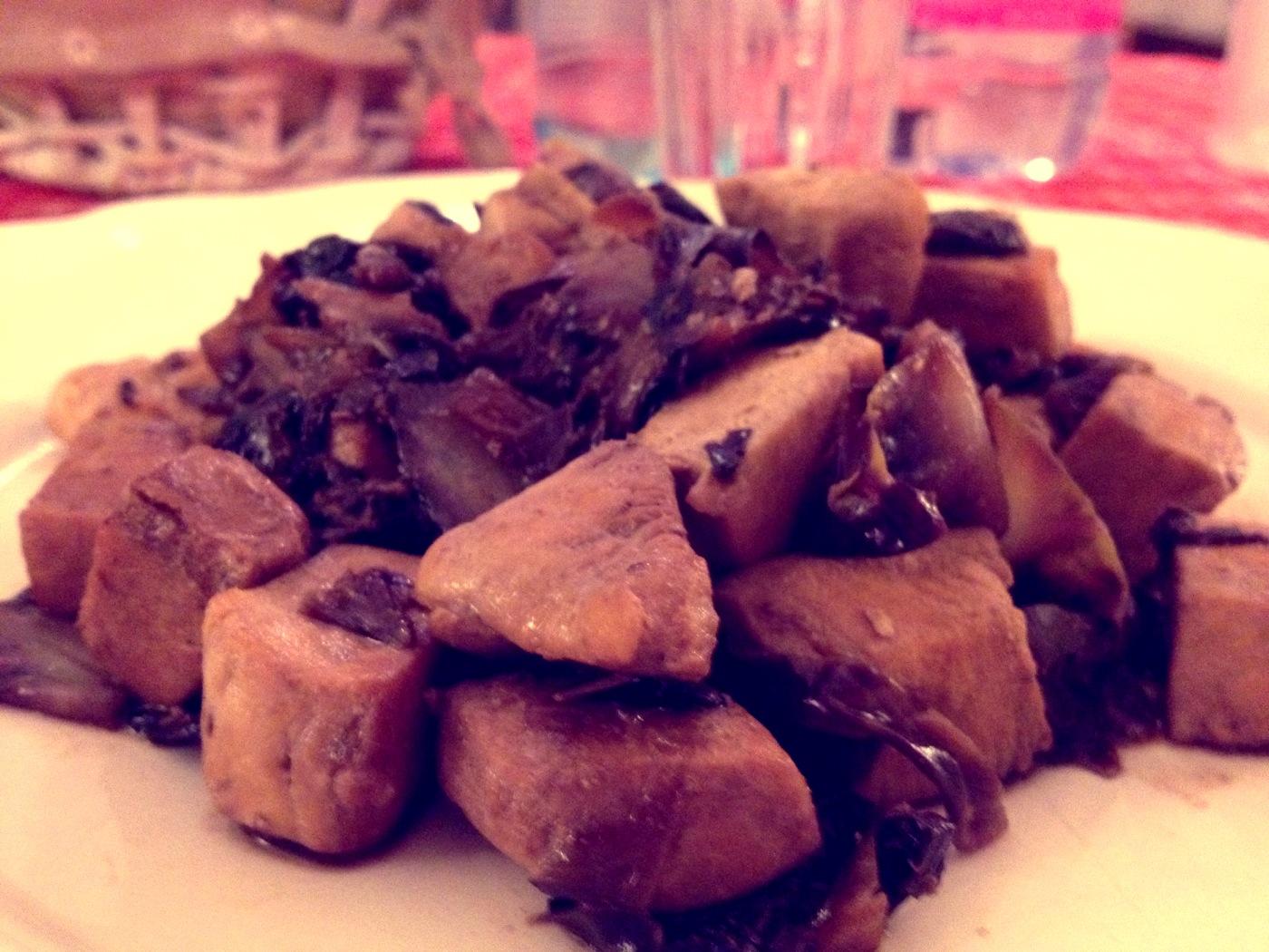 Petto di pollo al radicchio e salsa di soia
