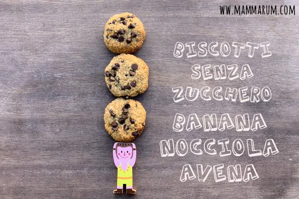 Biscotti senza zucchero banana, avena e nocciole