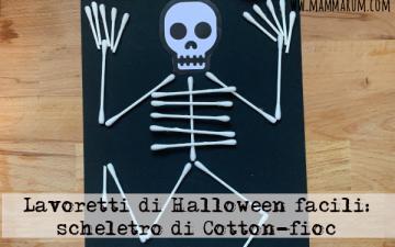Lavoretti di Halloween facili scheletro Cotton fioc