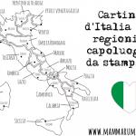 Cartina d'Italia con regioni e capoluoghi da stampare